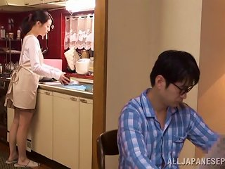 Sweet Wife In A Pleated Skirt Cheats By Sucking Off Another Man