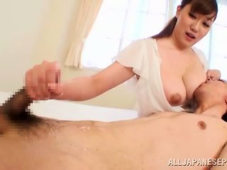 Rin Yunoki Gets Her Tits Kissed And Gives A Handjob