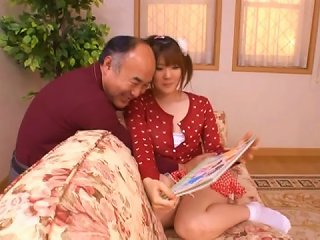 Japanese Cardigan Cutie And A Horny Old Man Hook Up
